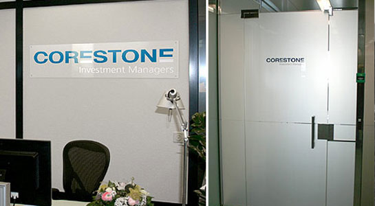 Innenbeschriftung Büro Corestone Investment Managers