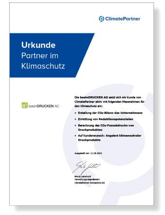 Klima Zertifikat