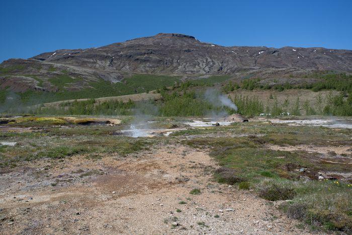 Aktive Landschaft auf Island in der nähe des bekan