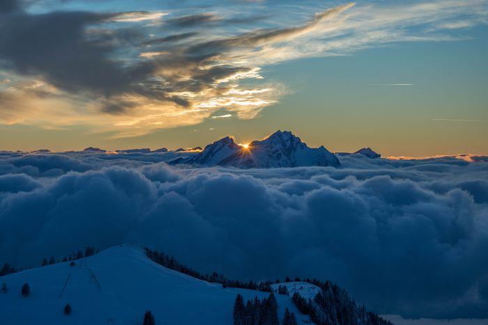 Sonnenuntergang Rigi Kulm (Winter)